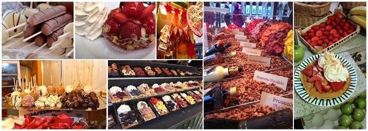 Früchte, Dessert, Süsswaren, Gebrannte Mandel Variationen, Zuckerwatte, Popcorn