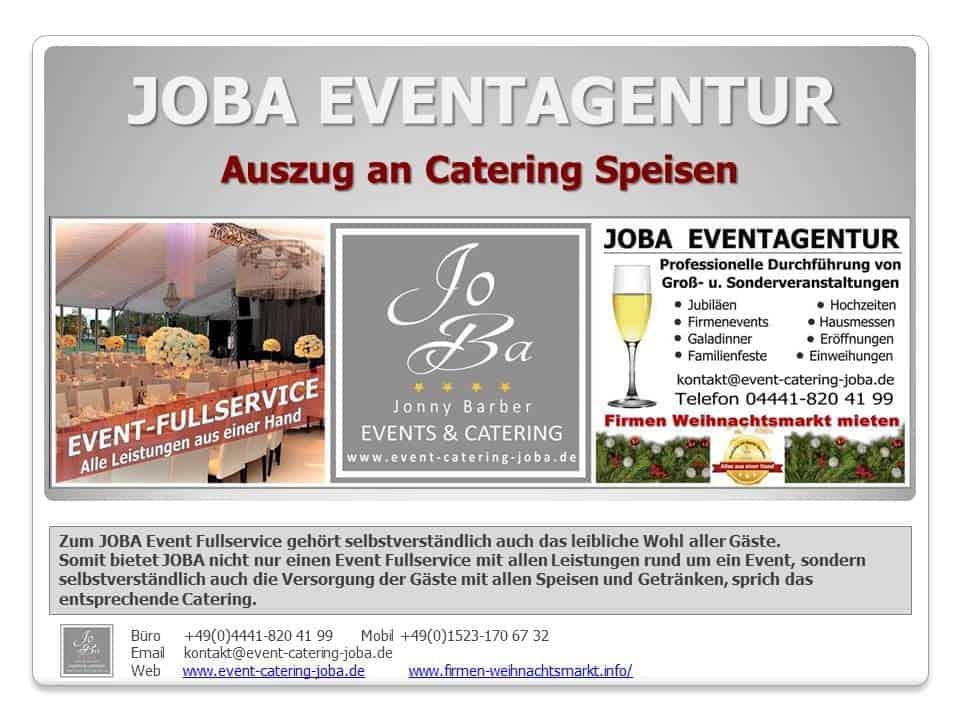 Catering Prospekt von JOBA Eventagentur Jonny Barber